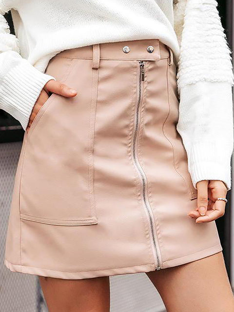 Vintage Autumn Winter Leather High Waist Zipper Mini Skirt For Women