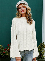 Turtleneck Flare Sleeve Knitted Pullover Sweater for Women