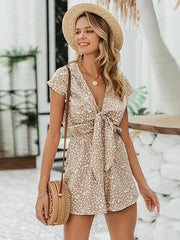 Casual Bohemian Sleeveless Short Playsuits Bow Tie Jumpsuit