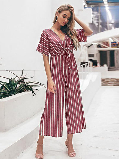 Women's Overalls Vintage Striped V Neck Long Jumpsuit