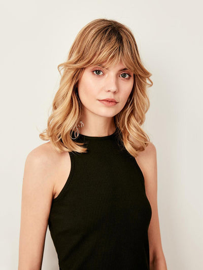 Black Halter Neckline Ribbed Knit Undershirt