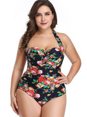 Plus Size Foral Printed Halter Deep V-Neck Bikini Swimwear