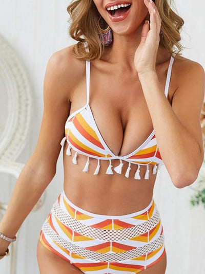 Women's Spaghetti Straps Tassel Strip High Waist Striped Bikini