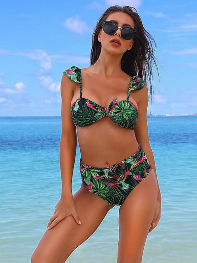 Floral Set Push Up Spaghetti Straps Bow Low Waist Bikini