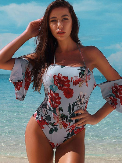 Printed  High Waist Off Shoulder with Spaghetti Straps Bikini