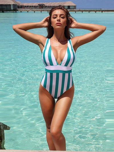 Young Fashion Striped Bikini High Waist Deep V-Neck Sleeveless