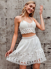 Women's Elastic High Waist Hollow Out Embroidery Cotton Mini Skirt