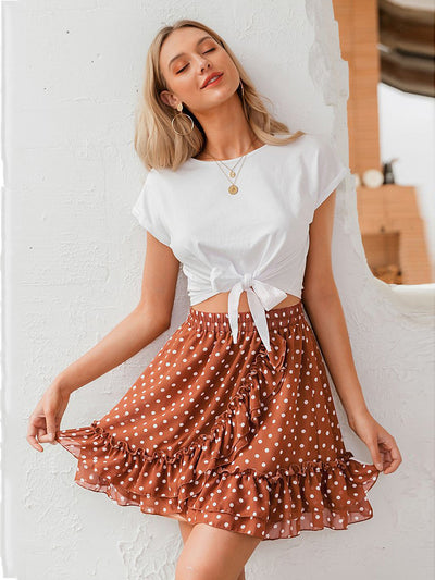 Women's Sweet Ruffled A-Line Polka Dot Print Streetwear Mini Skirt