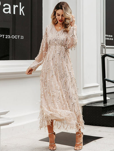 Elegant Sexy V-Neck Mesh Sequin Long Party Dress