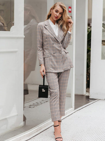 Elegant Double Breasted Blazer Suits for Office Ladies