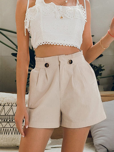Casual Solid Middle Waist Cotton Women Summer Shorts