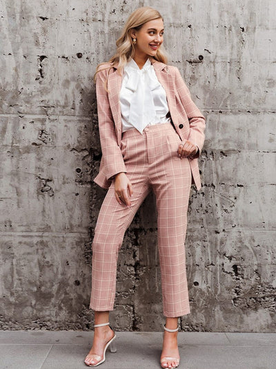 Double Breasted Long Sleeve Plaid Blazer Sets