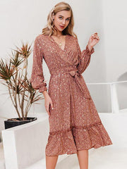 Sexy V-Neck Printed Ruffled Long Sleeve Office Ladies Summer Pleated Dress