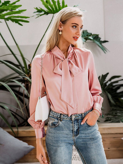 Elegant Long Sleeves Neck Tie Spring Summer Blouse for Women
