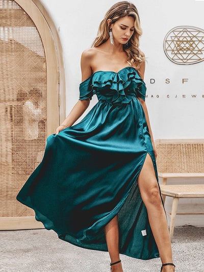 Sexy Off Shoulder High Waist Satin Long Party Dress