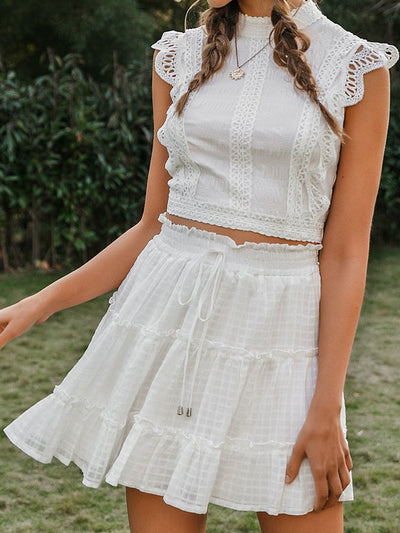 Ruffled High Waist Women Skirts Elegant Lace Up Female Mini Skirt