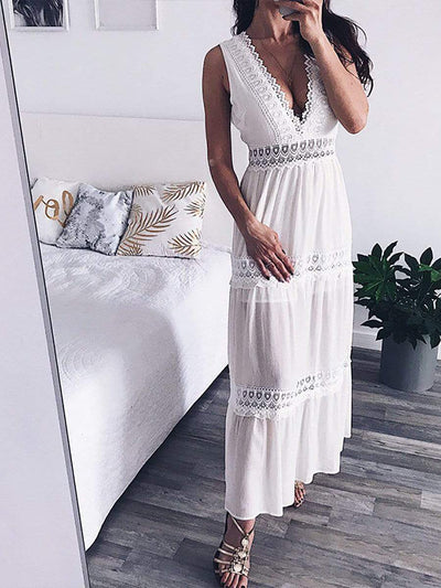 Color=White | Gorgeous Deep V Neck Floor Length Summer Dress With Lace-White 1