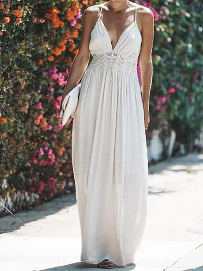 Color=White | Modest Beach Sundress For Women With Plunging V Neckline-White 1