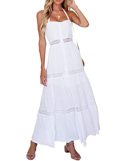 Color=White | Trendy Long Cotton Summer Dress For Women With Straps-White 1