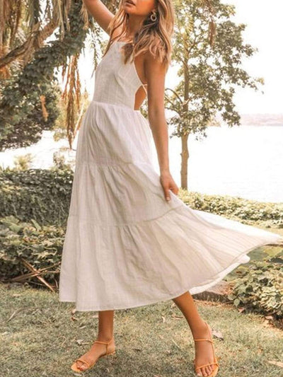 Color=White | Sexy Lace Up Backless High Waist Beach Sundress For Women-White 1