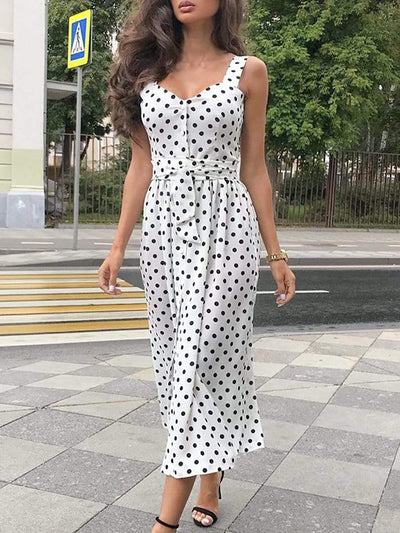 Color=White | Casual Long Polka Dot Summer Dress With Straps & Belt-White 1