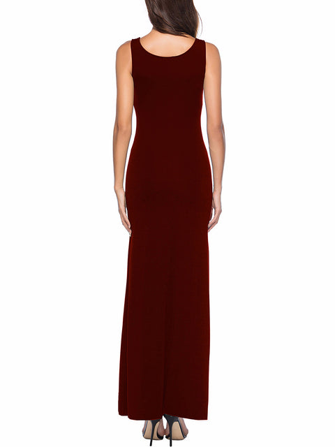 Color=Burgundy | Women Basic Maxi Dress For Women With Plunging Neckline-Burgundy 2