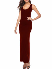 Color=Burgundy | Women Basic Maxi Dress For Women With Plunging Neckline-Burgundy 3