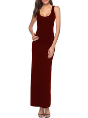 Color=Burgundy | Women Basic Maxi Dress For Women With Plunging Neckline-Burgundy 1