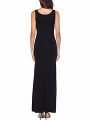 Color=Black | Women Basic Maxi Dress For Women With Plunging Neckline-Black 2