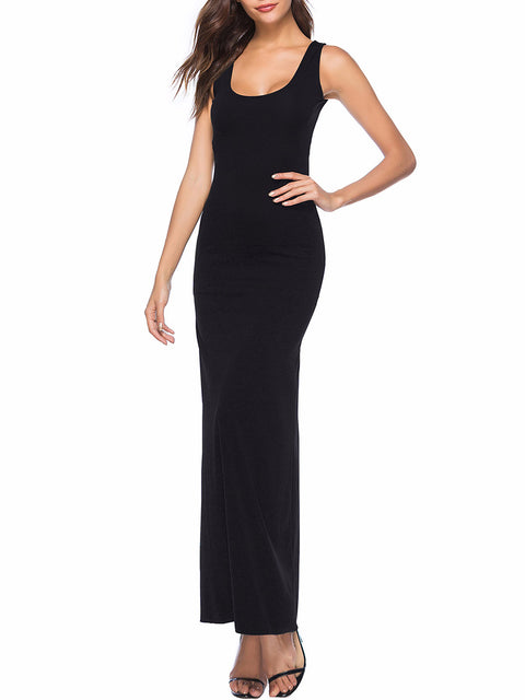 Color=Black | Women Basic Maxi Dress For Women With Plunging Neckline-Black 3