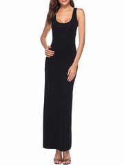 Color=Black | Women Basic Maxi Dress For Women With Plunging Neckline-Black 1