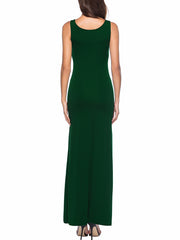 Color=Green | Women Basic Maxi Dress For Women With Plunging Neckline-Green 2