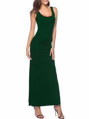Color=Green | Women Basic Maxi Dress For Women With Plunging Neckline-Green 3