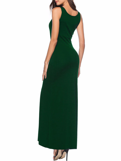 Color=Green | Women Basic Maxi Dress For Women With Plunging Neckline-Green 4