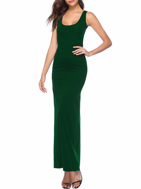 Color=Green | Women Basic Maxi Dress For Women With Plunging Neckline-Green 1