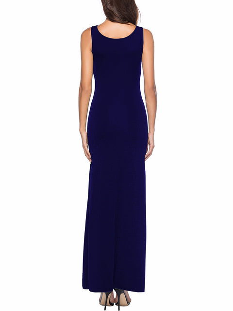 Color=Sapphire Blue | Women Basic Maxi Dress For Women With Plunging Neckline-Sapphire Blue 2