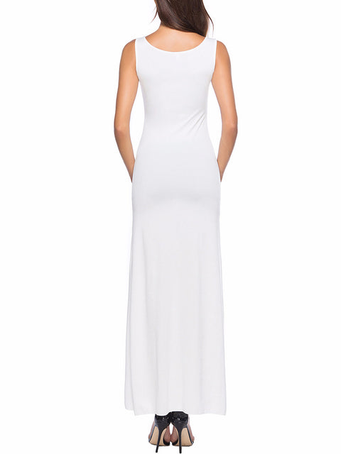Color=White | Women Basic Maxi Dress For Women With Plunging Neckline-White 2