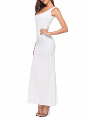 Color=White | Women Basic Maxi Dress For Women With Plunging Neckline-White 3