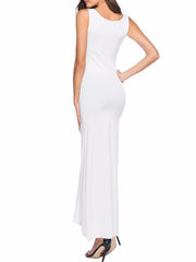 Color=White | Women Basic Maxi Dress For Women With Plunging Neckline-White 4