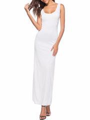 Color=White | Women Basic Maxi Dress For Women With Plunging Neckline-White 1