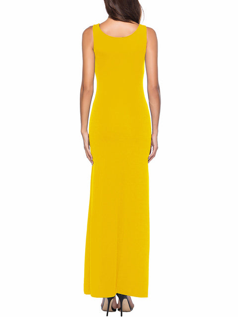 Color=Yellow | Women Basic Maxi Dress For Women With Plunging Neckline-Yellow 2