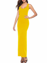 Color=Yellow | Women Basic Maxi Dress For Women With Plunging Neckline-Yellow 3