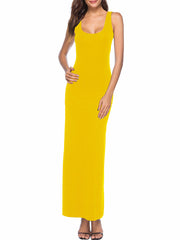 Color=Yellow | Women Basic Maxi Dress For Women With Plunging Neckline-Yellow 1