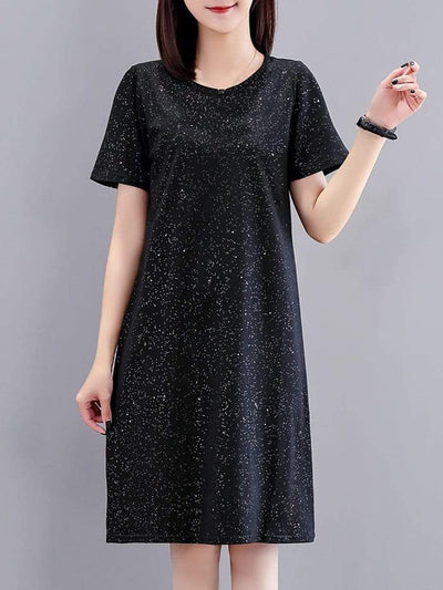 Color=Black | Cute Printed Knee-Length T-Shirt Summer Dress For Women-Black 1