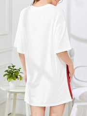 Color=White | Cute Printed T-Shirt Dress For Women With Short Sleeves-White 2