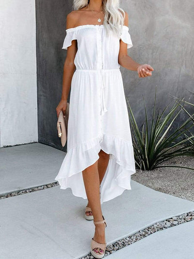 Color=White | Sweet Off Shoulder Pleated Sundress With Ruffles For Women-White 1