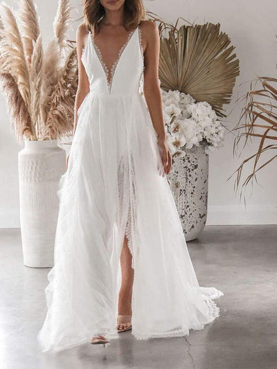 Color=White | Gorgeous Backless Deep V Neck Maxi Beach Dress With Tail-White 1
