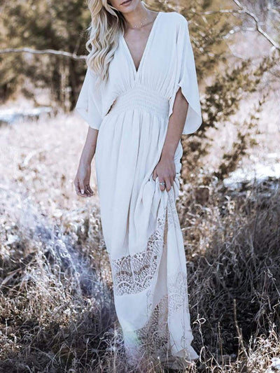 Color=White | Bohenmian Deep V Neck Floor-Length Summer Dress-White 1