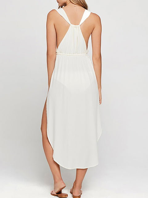 Color=White | Women'S Boho V Neck Sleeveless Long White Summer Dress-White 3