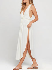 Color=White | Women'S Boho V Neck Sleeveless Long White Summer Dress-White 4